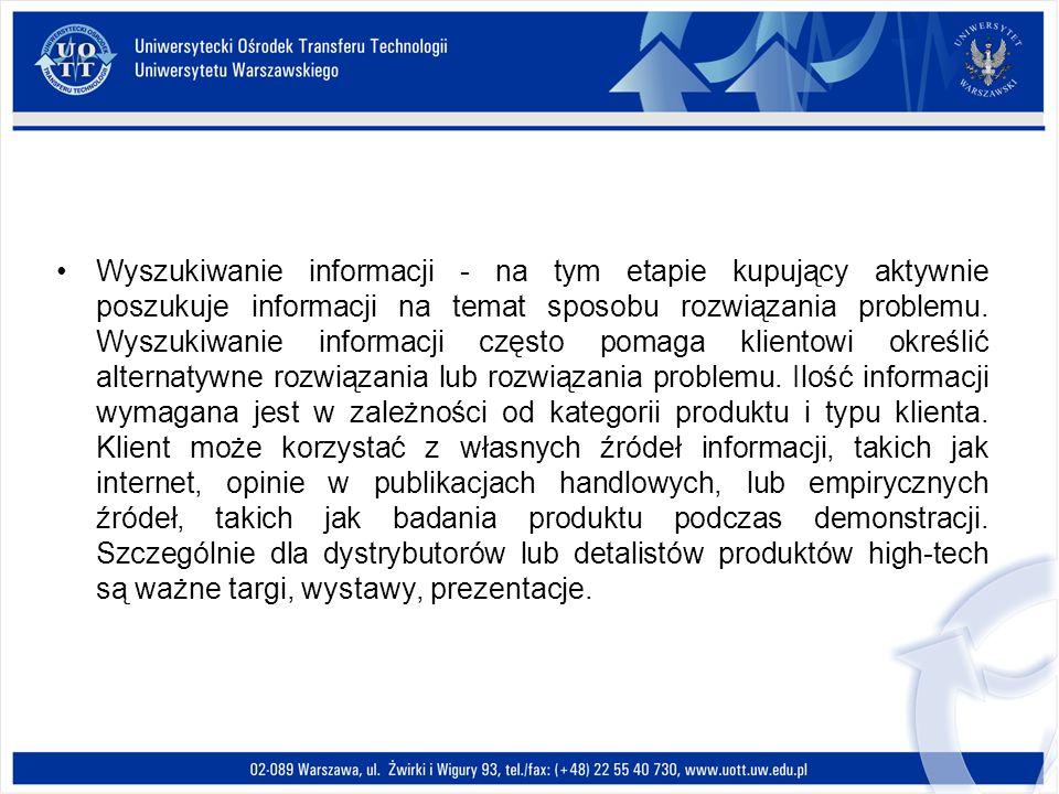 Wyszukiwanie informacji - na tym etapie kupujący aktywnie poszukuje informacji na temat sposobu rozwiązania problemu.