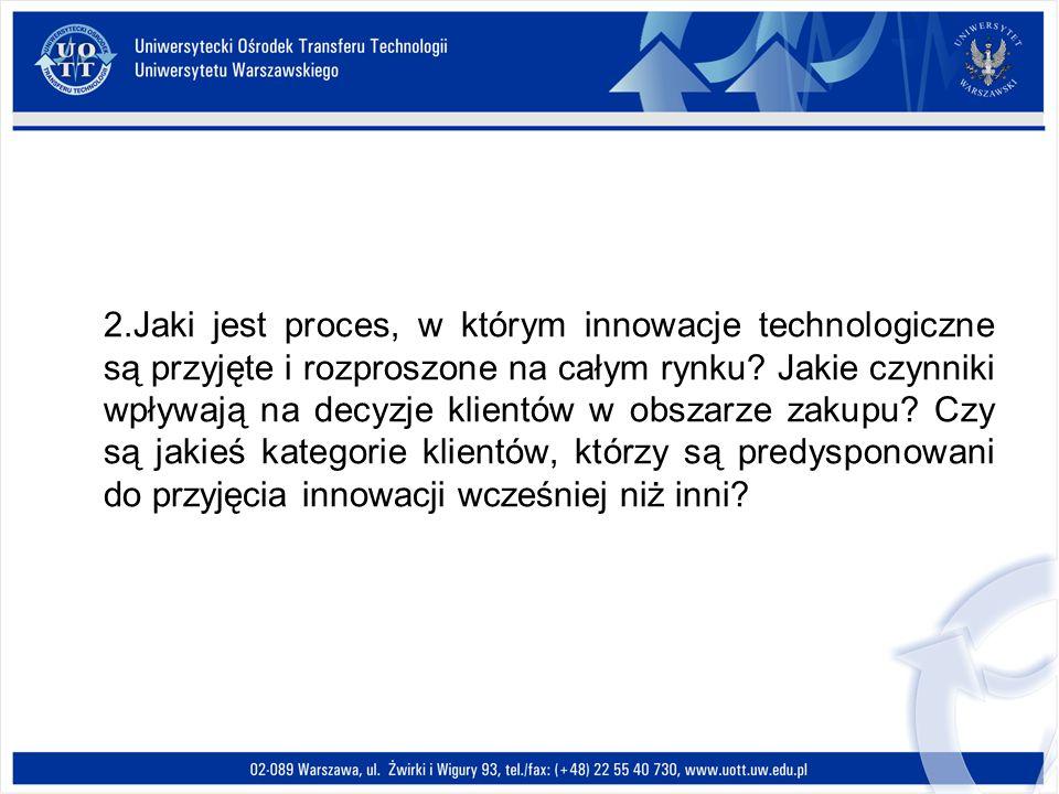 2.Jaki jest proces, w którym innowacje technologiczne są przyjęte i rozproszone na całym rynku.
