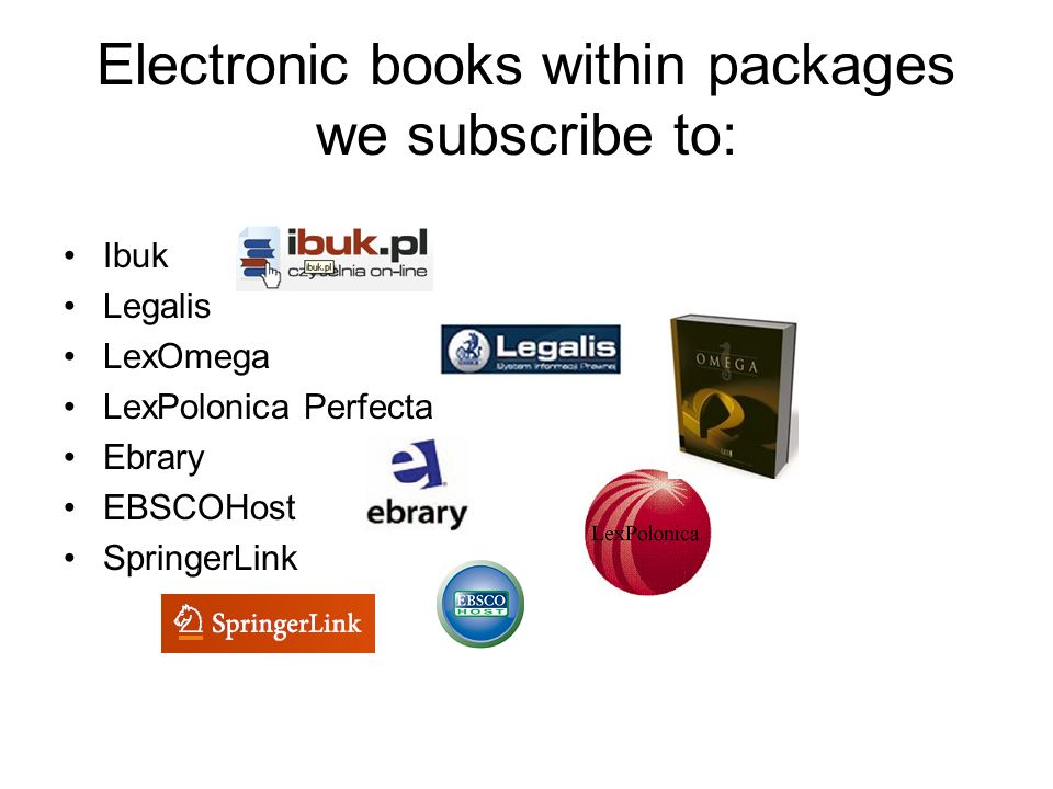 Electronic books within packages we subscribe to: