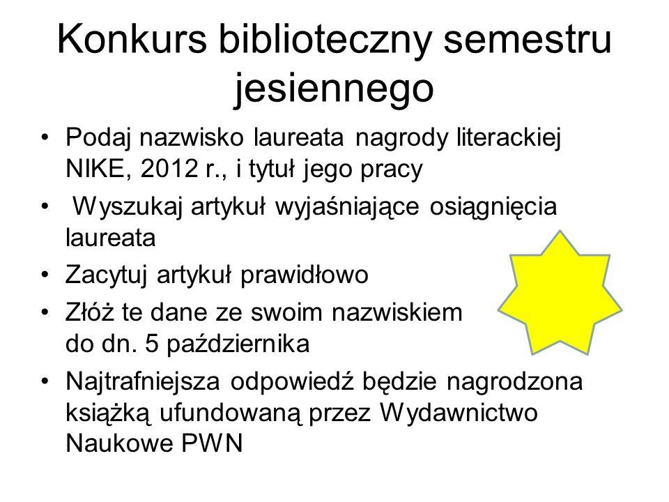 Konkurs biblioteczny semestru jesiennego