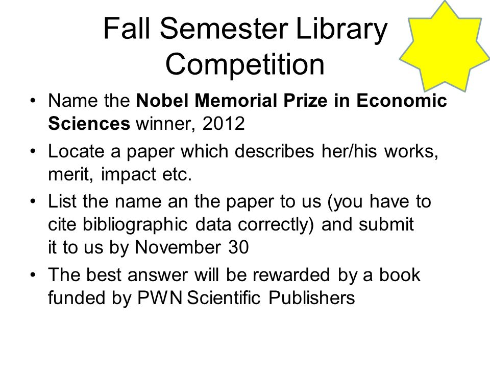 Fall Semester Library Competition
