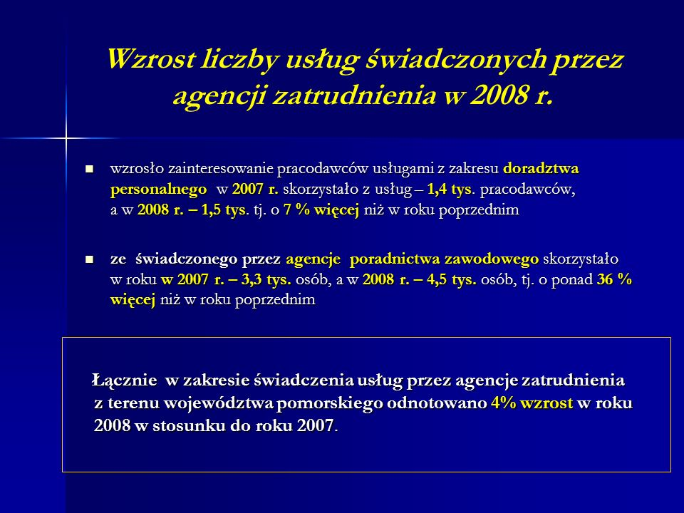 Wzrost liczby usług świadczonych przez agencji zatrudnienia w 2008 r.