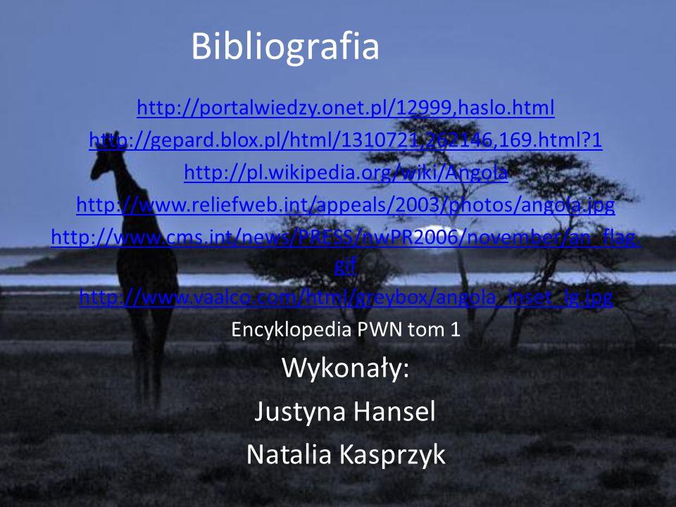 Bibliografia Wykonały: Justyna Hansel Natalia Kasprzyk