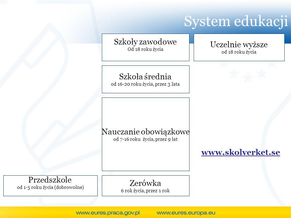 System edukacji Szkoły zawodowe Uczelnie wyższe Szkoła średnia
