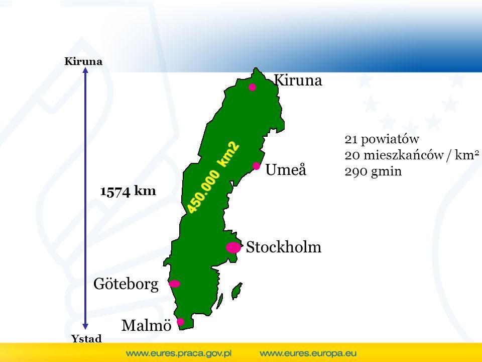 Kiruna Umeå Stockholm Göteborg Malmö 21 powiatów 20 mieszkańców / km2