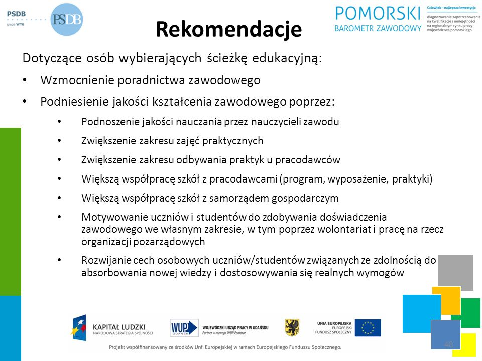 Rekomendacje Dotyczące osób wybierających ścieżkę edukacyjną: