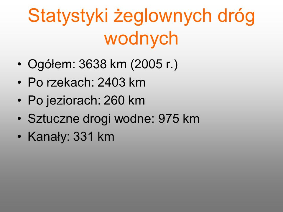 Statystyki żeglownych dróg wodnych