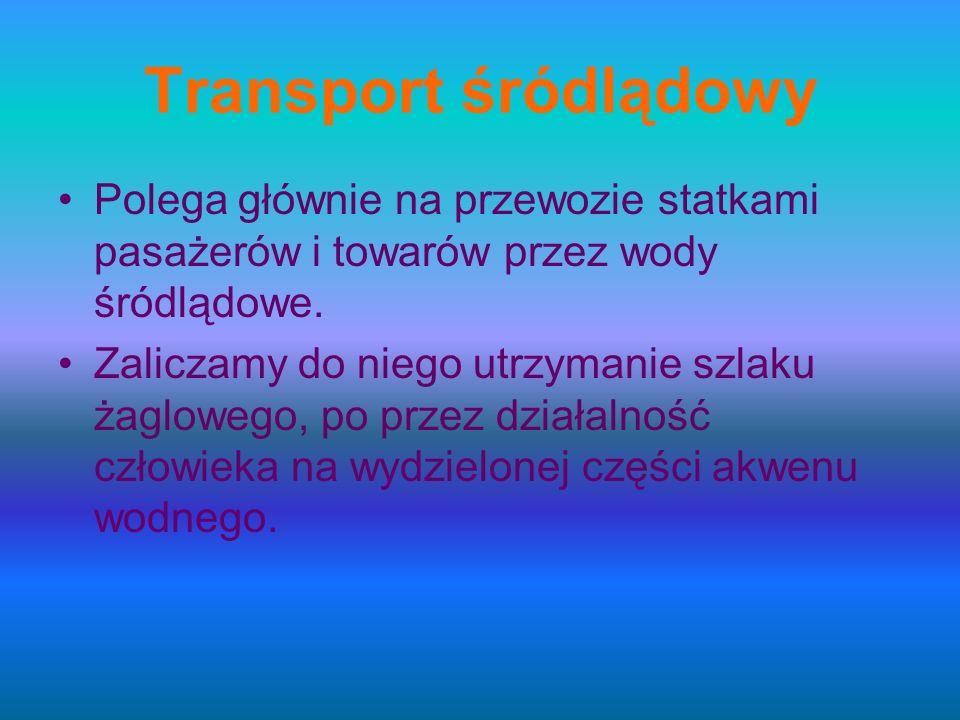 Transport śródlądowy Polega głównie na przewozie statkami pasażerów i towarów przez wody śródlądowe.