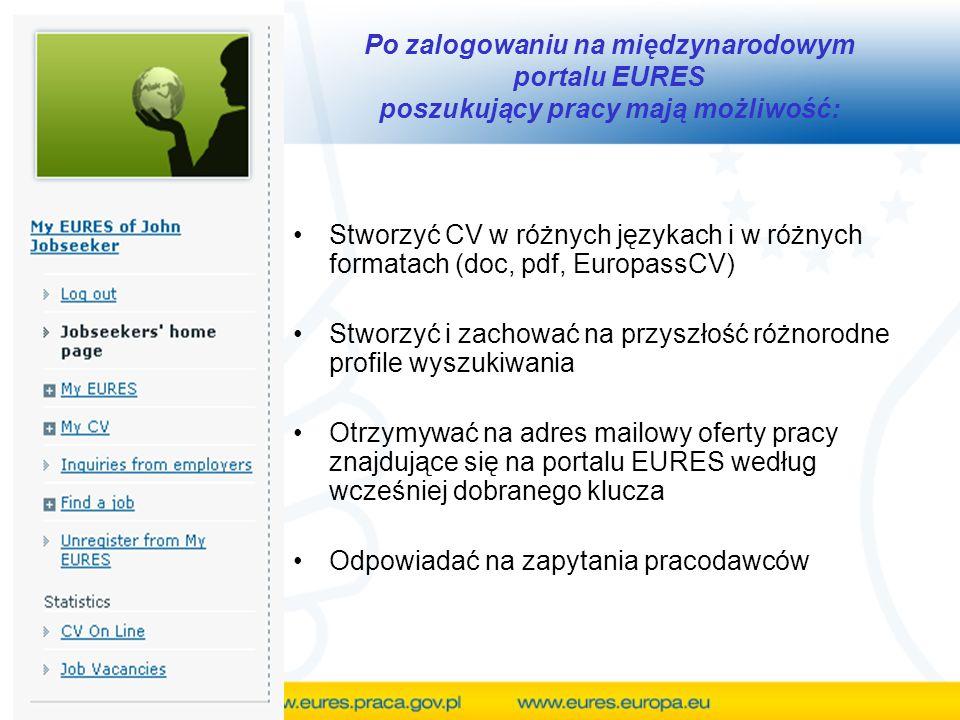 Po zalogowaniu na międzynarodowym portalu EURES poszukujący pracy mają możliwość: