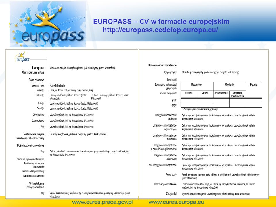 EUROPASS – CV w formacie europejskim http://europass. cedefop. europa