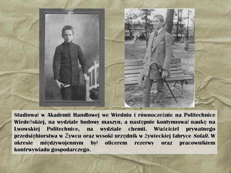 Studiował w Akademii Handlowej we Wiedniu i równocześnie na Politechnice Wiedeńskiej, na wydziale budowy maszyn, a następnie kontynuował naukę na Lwowskiej Politechnice, na wydziale chemii.