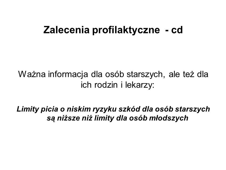 Zalecenia profilaktyczne - cd