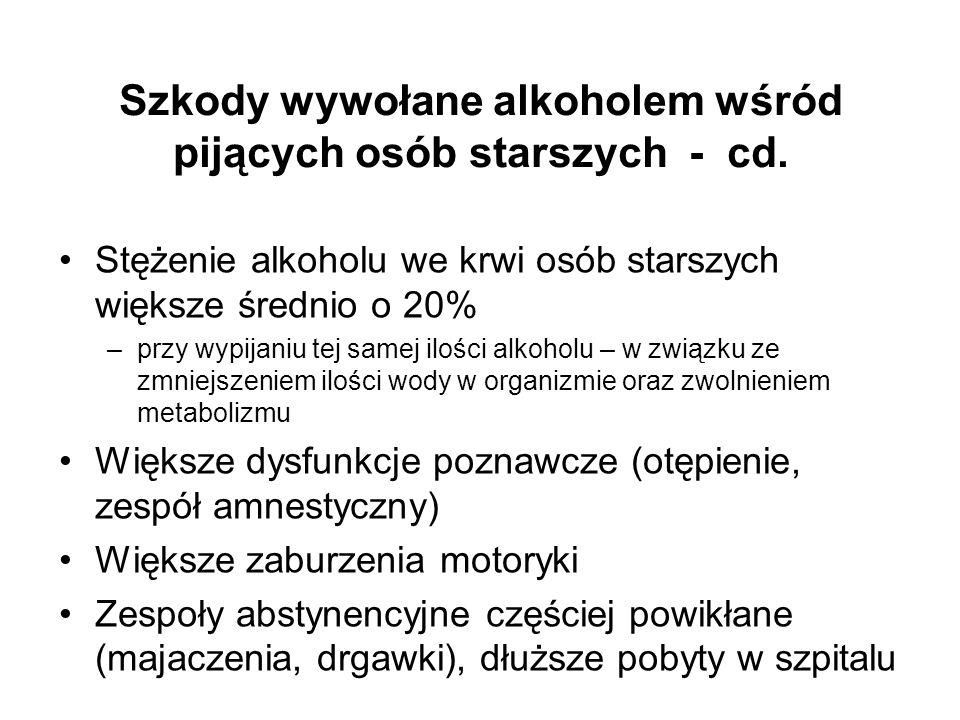 Szkody wywołane alkoholem wśród pijących osób starszych - cd.