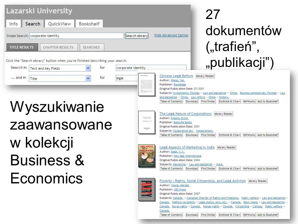 Wyszukiwanie zaawansowane w kolekcji Business & Economics