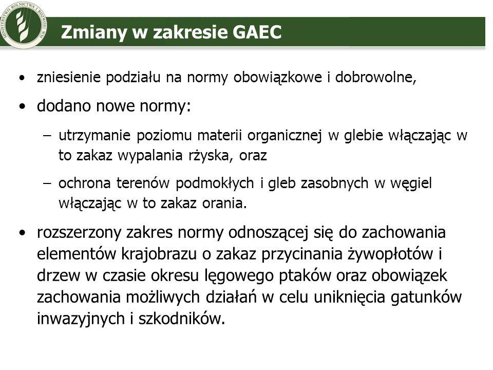 Zmiany w zakresie GAEC dodano nowe normy: