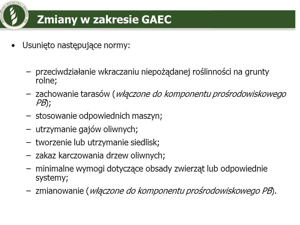Zmiany w zakresie GAEC Usunięto następujące normy: