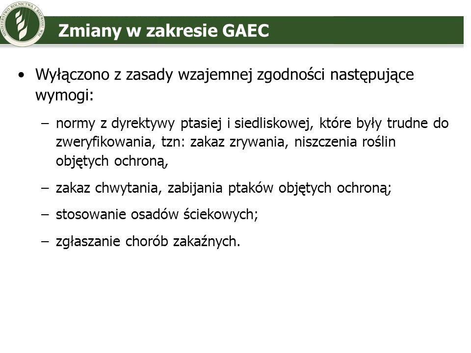 Zmiany w zakresie GAECWyłączono z zasady wzajemnej zgodności następujące wymogi: