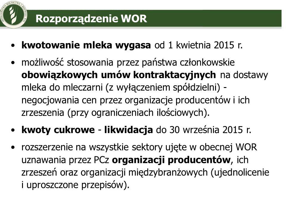 Rozporządzenie WOR kwotowanie mleka wygasa od 1 kwietnia 2015 r.