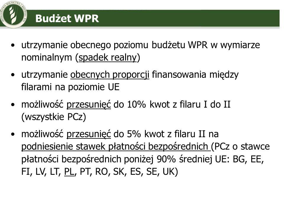 Budżet WPRutrzymanie obecnego poziomu budżetu WPR w wymiarze nominalnym (spadek realny)