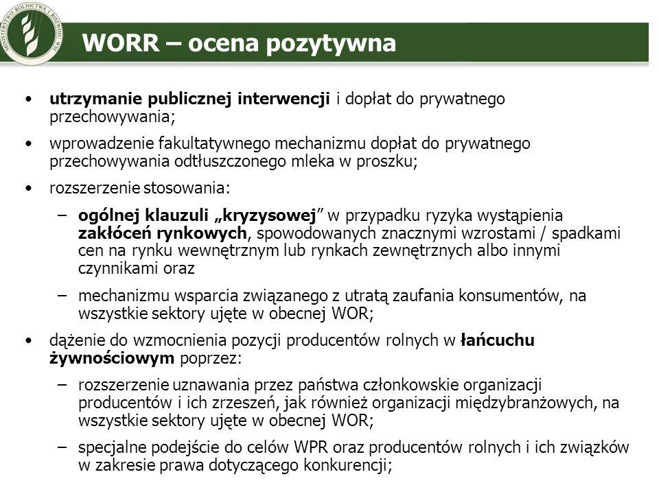 WORR – ocena pozytywnautrzymanie publicznej interwencji i dopłat do prywatnego przechowywania;