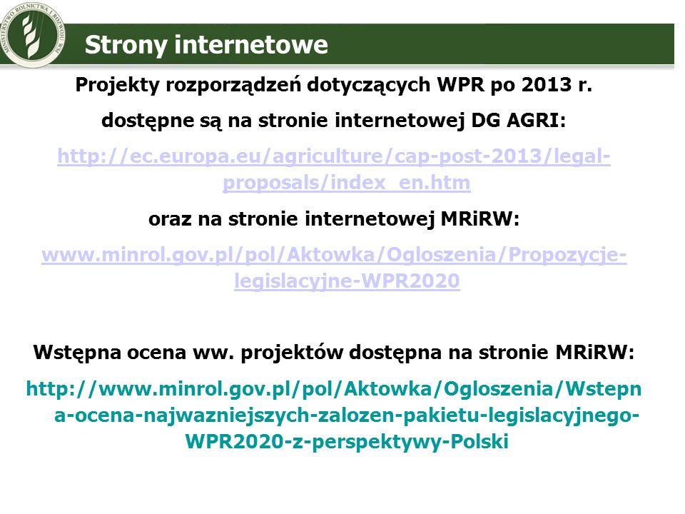 Strony internetowe Projekty rozporządzeń dotyczących WPR po 2013 r.