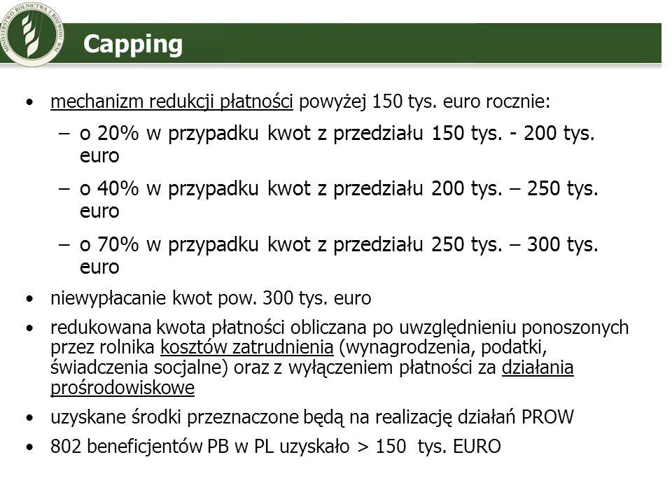 Capping o 20% w przypadku kwot z przedziału 150 tys. - 200 tys. euro