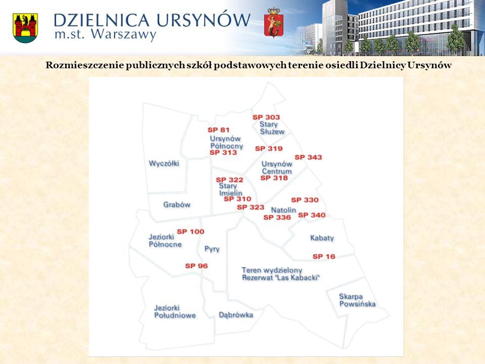 Rozmieszczenie publicznych szkół podstawowych terenie osiedli Dzielnicy Ursynów
