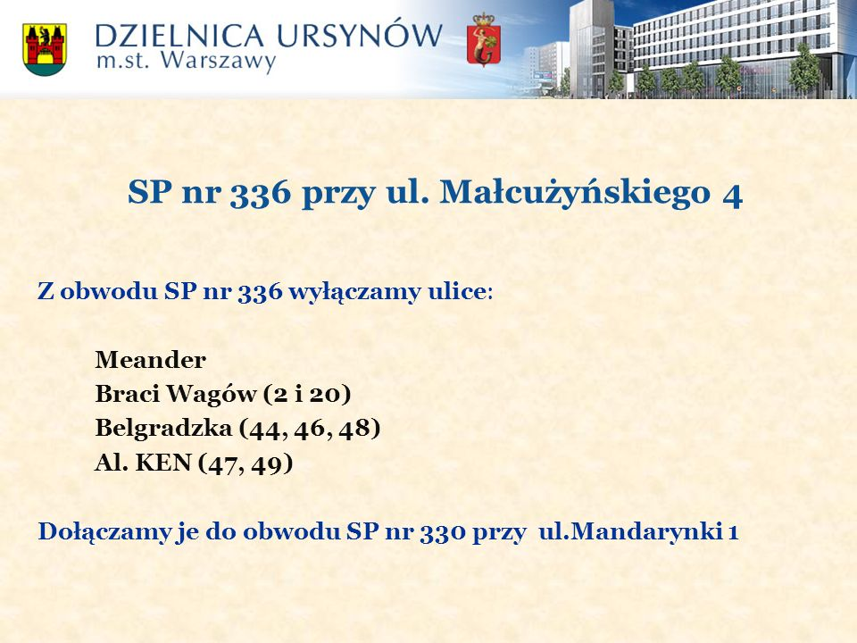 SP nr 336 przy ul. Małcużyńskiego 4