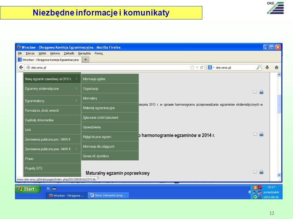 Niezbędne informacje i komunikaty