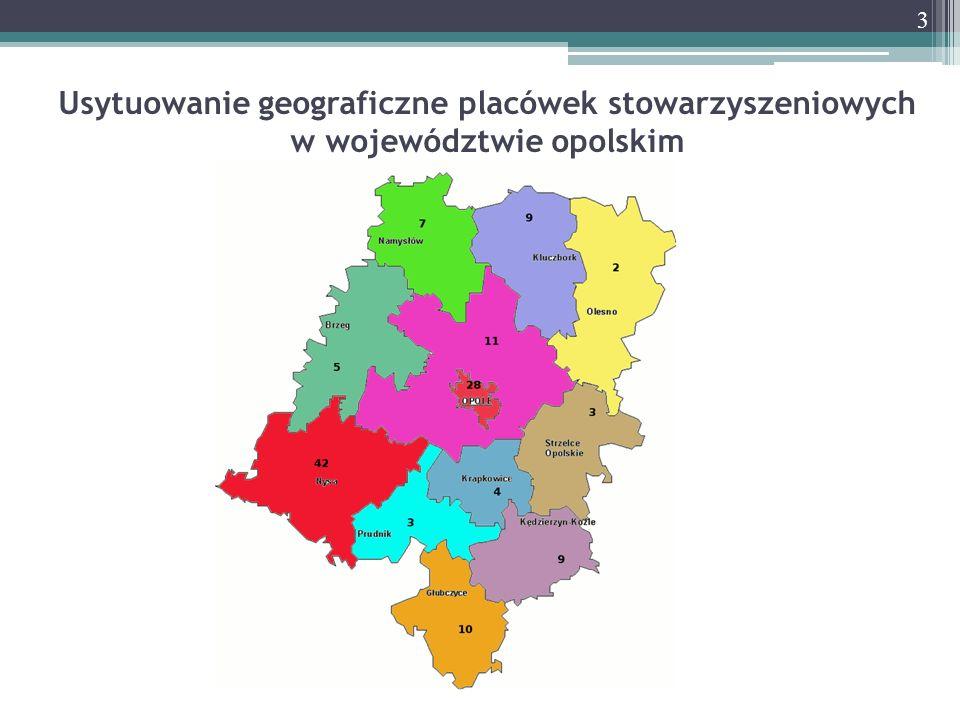 Usytuowanie geograficzne placówek stowarzyszeniowych w województwie opolskim