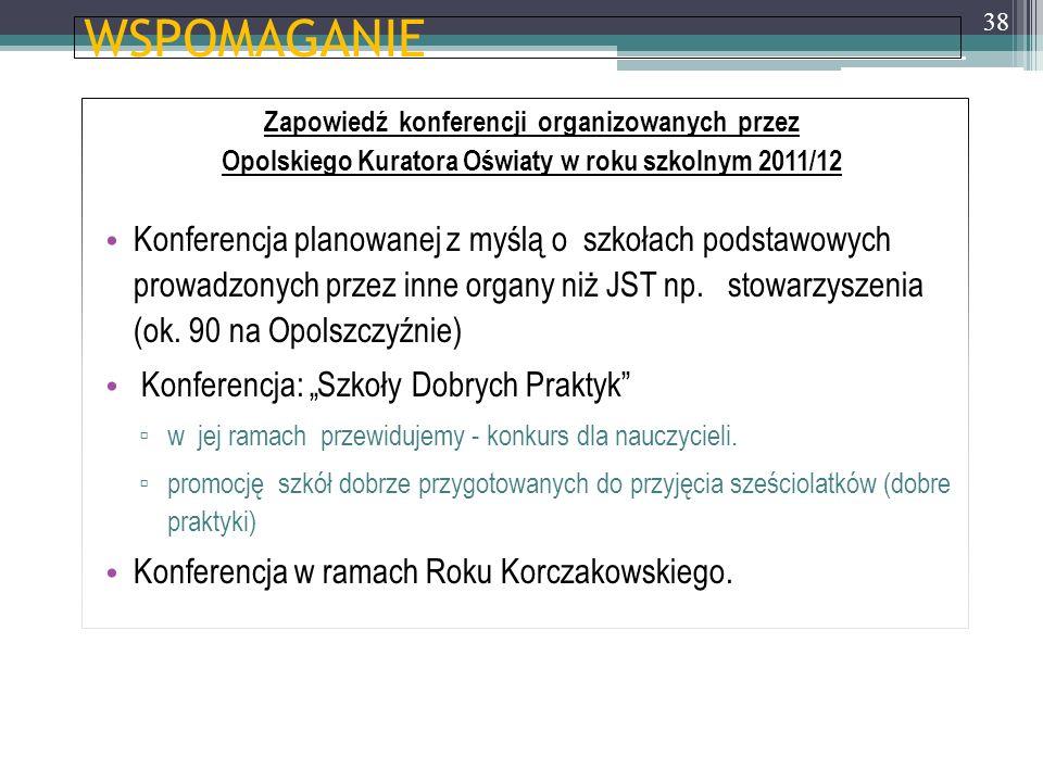 WSPOMAGANIE Zapowiedź konferencji organizowanych przez. Opolskiego Kuratora Oświaty w roku szkolnym 2011/12.