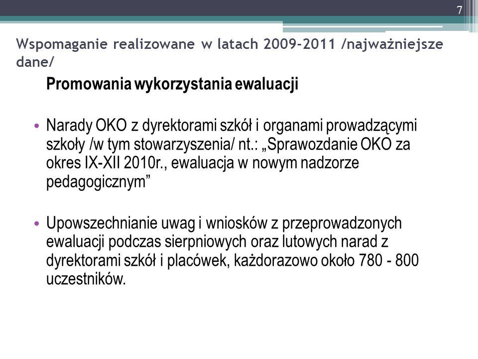 Wspomaganie realizowane w latach 2009-2011 /najważniejsze dane/