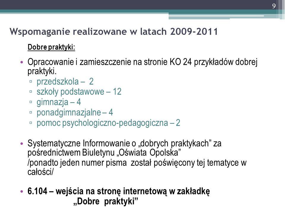Wspomaganie realizowane w latach 2009-2011