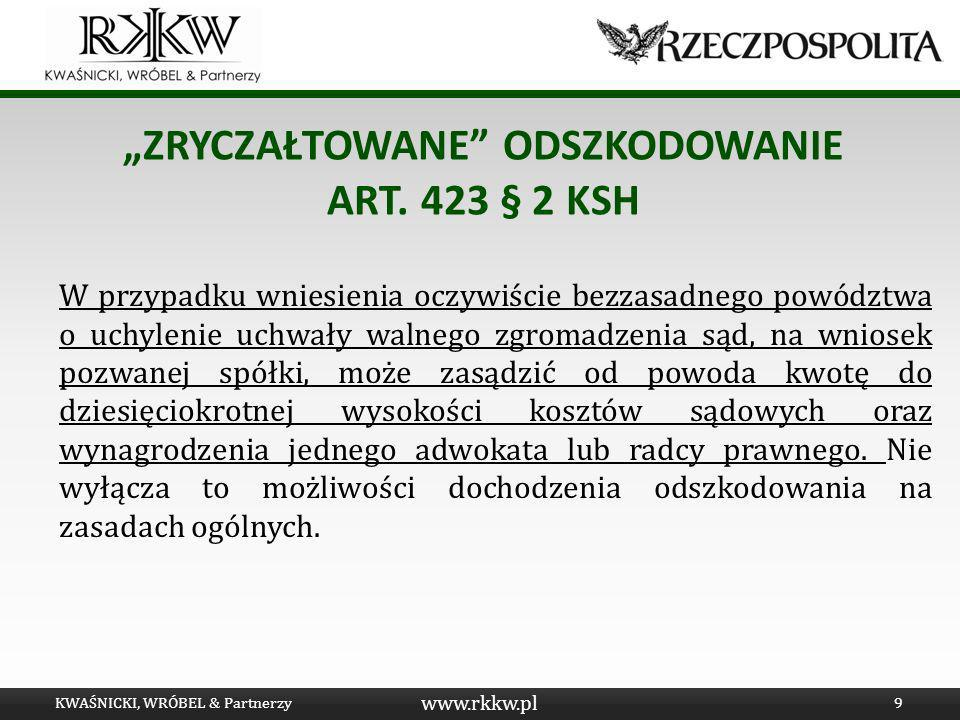 """""""Zryczałtowane odszkodowanie art. 423 § 2 KSH"""
