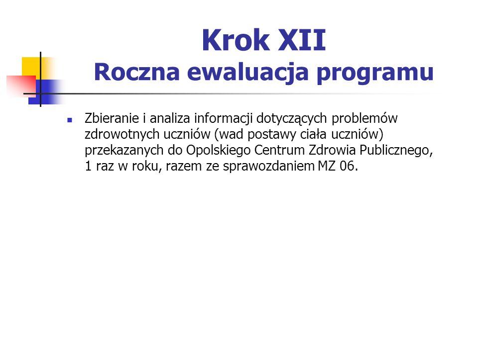 Krok XII Roczna ewaluacja programu