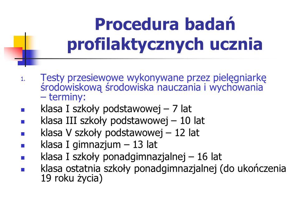 Procedura badań profilaktycznych ucznia