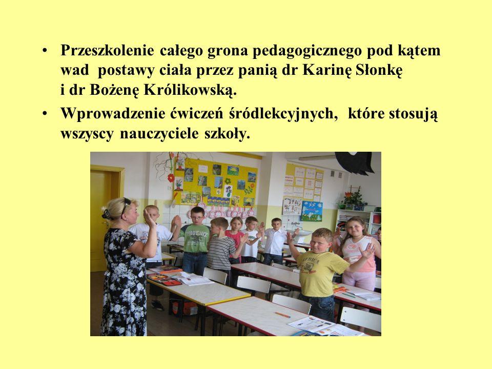 Przeszkolenie całego grona pedagogicznego pod kątem wad postawy ciała przez panią dr Karinę Słonkę i dr Bożenę Królikowską.