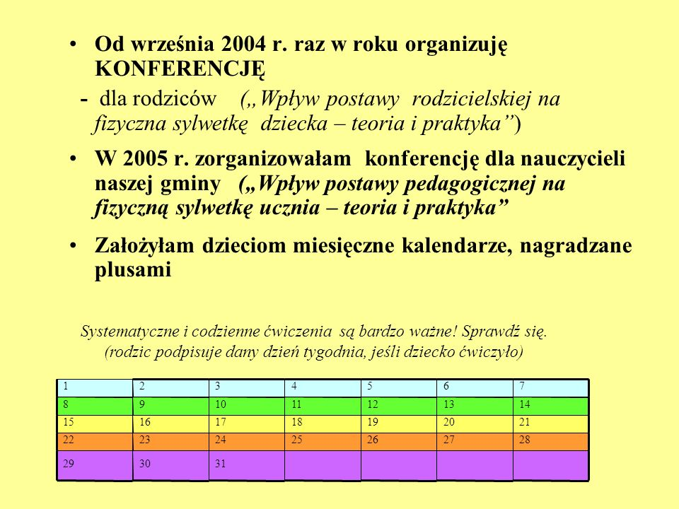 Od września 2004 r. raz w roku organizuję KONFERENCJĘ