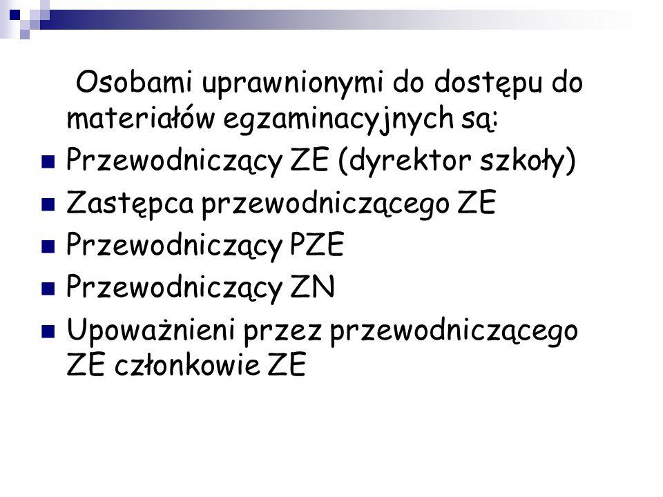 Osobami uprawnionymi do dostępu do materiałów egzaminacyjnych są:
