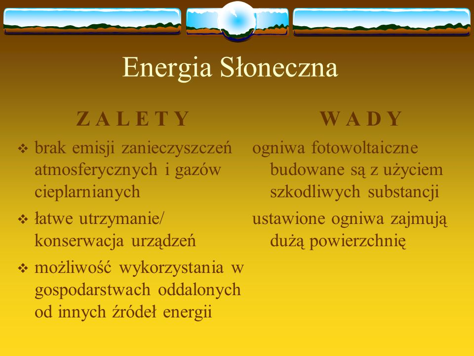 Energia Słoneczna Z A L E T Y W A D Y