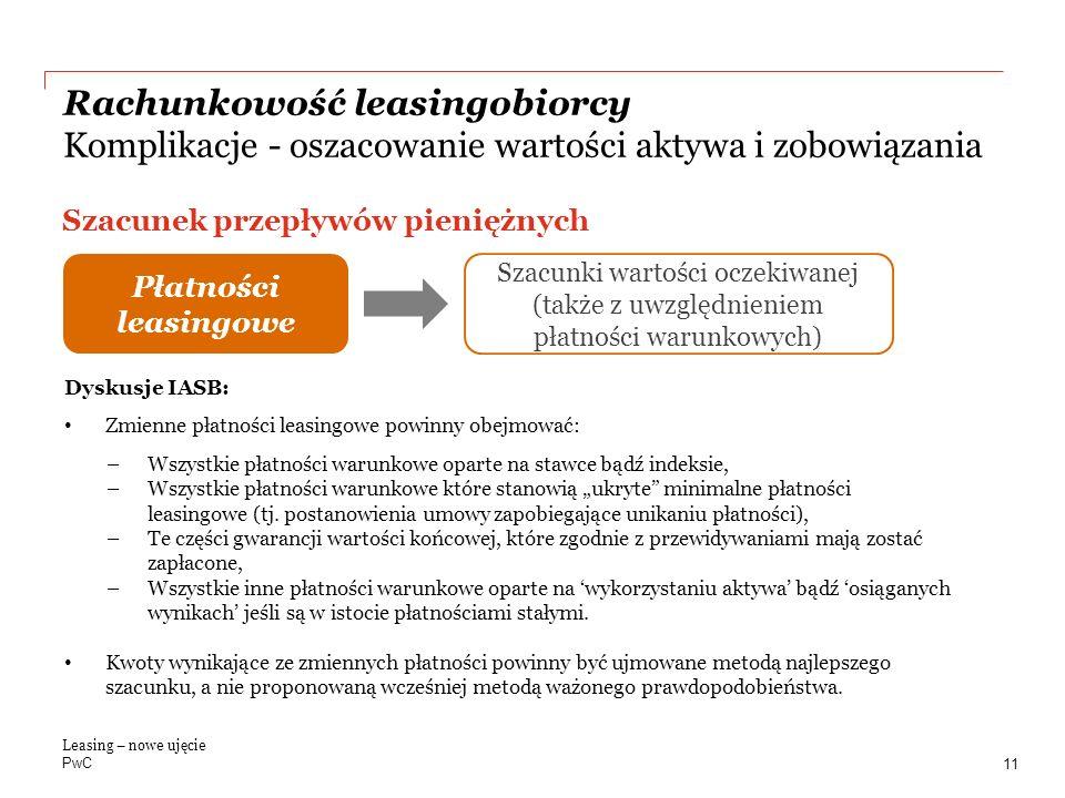 Rachunkowość leasingobiorcy Komplikacje - oszacowanie wartości aktywa i zobowiązania