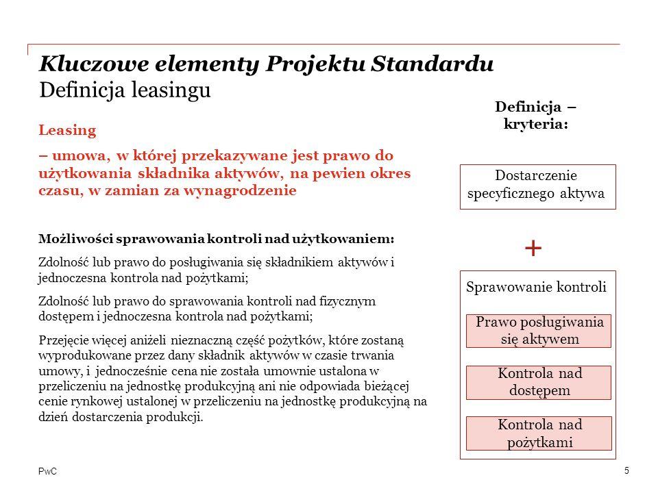 + Kluczowe elementy Projektu Standardu Definicja leasingu
