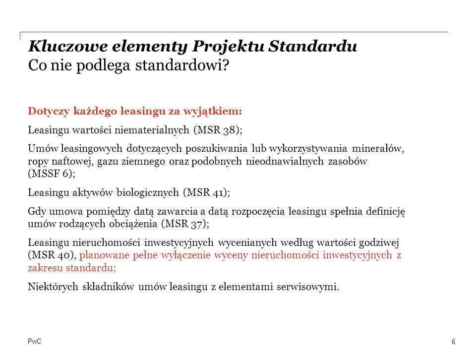 Kluczowe elementy Projektu Standardu Co nie podlega standardowi