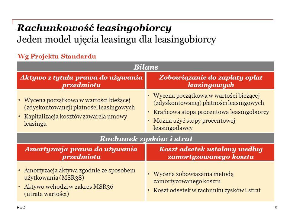 Rachunkowość leasingobiorcy Jeden model ujęcia leasingu dla leasingobiorcy