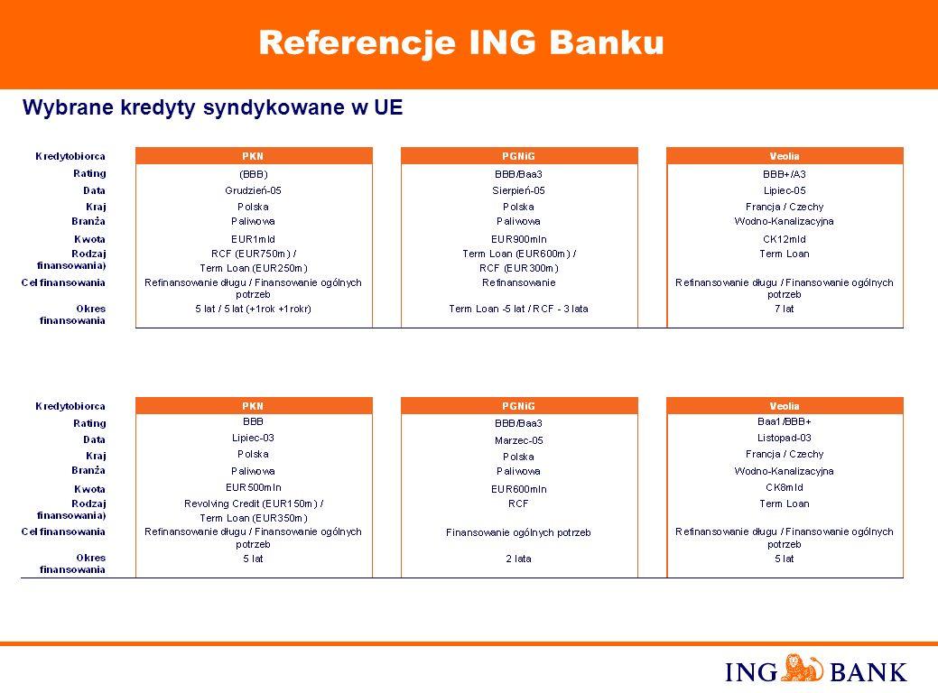 Referencje ING Banku Wybrane kredyty syndykowane w UE