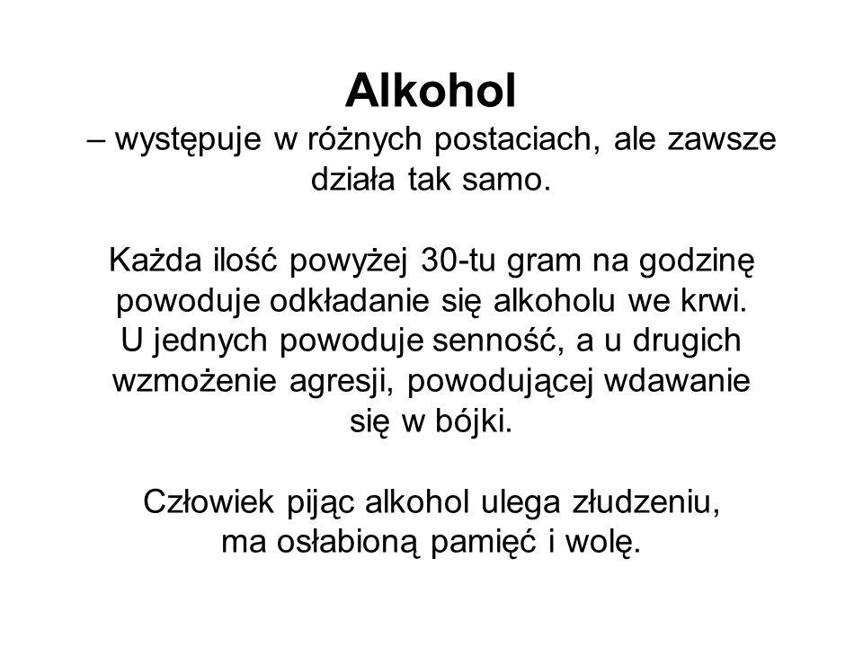Alkohol – występuje w różnych postaciach, ale zawsze działa tak samo