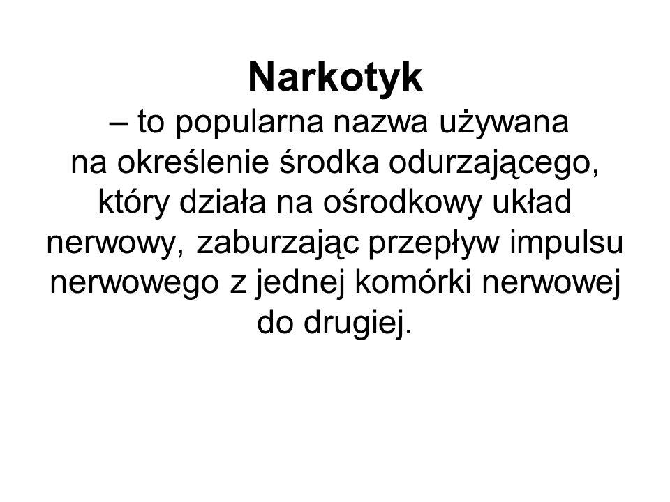 Narkotyk – to popularna nazwa używana na określenie środka odurzającego, który działa na ośrodkowy układ nerwowy, zaburzając przepływ impulsu nerwowego z jednej komórki nerwowej do drugiej.