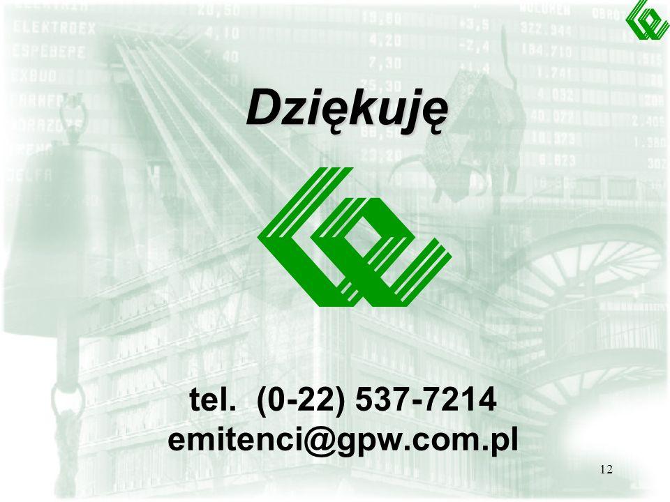 Dziękuję tel. (0-22) 537-7214 emitenci@gpw.com.pl