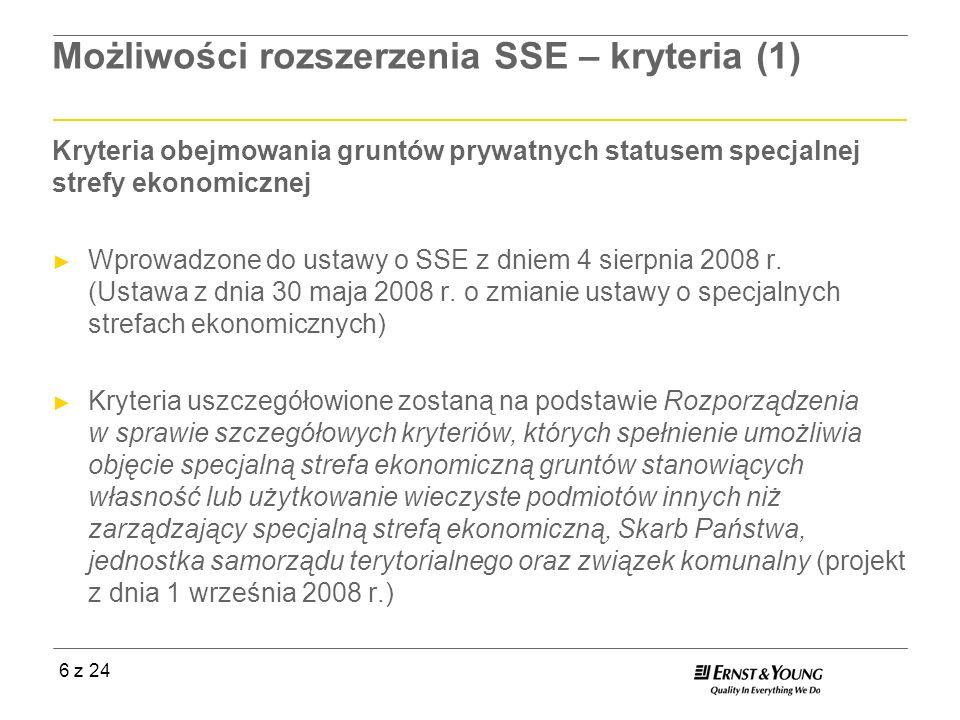 Możliwości rozszerzenia SSE – kryteria (1)