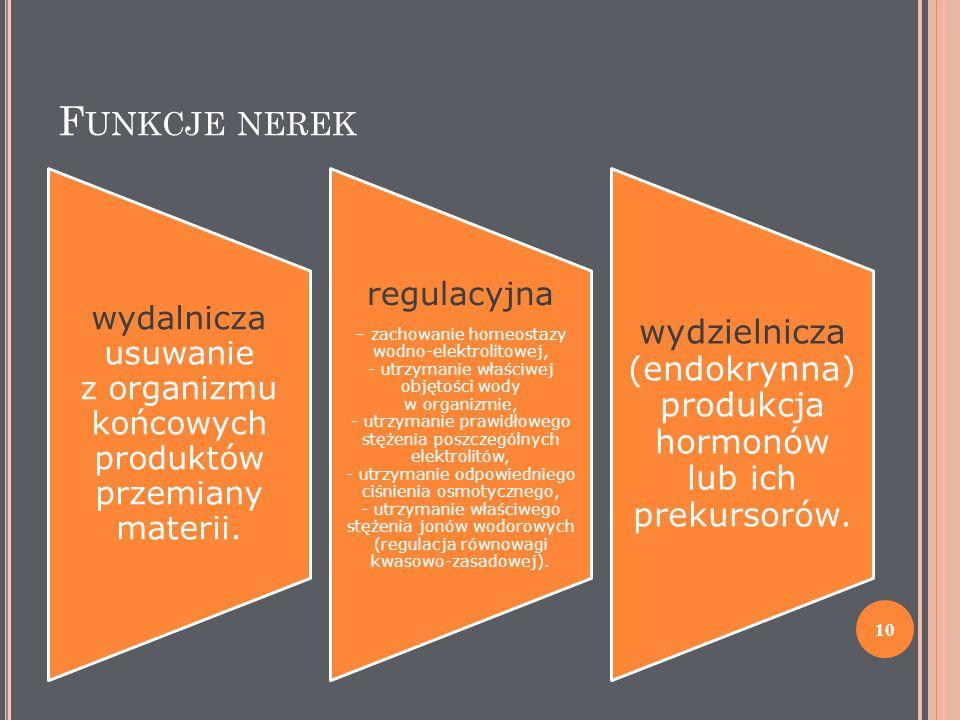 Funkcje nerek wydalnicza usuwanie z organizmu końcowych produktów przemiany materii. regulacyjna.
